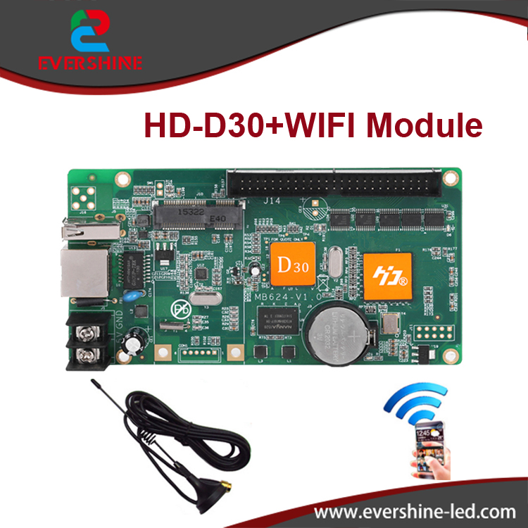 D30 HD-D30 RGB full color 256 gray scale LED display screen controller card supports WIFI,U-disk,Network ,1024*64 pixels p5 outdoor waterproof hd led display screen p5 rgb led display panel 3in1 smd2525 full color led board