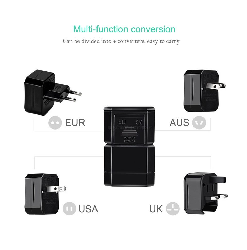 Three-in-one Global Travel Conversion 3 Sockets Plugs Universal Adapter Travel Abroad Converter Household Plugs USAUEUUK (5)
