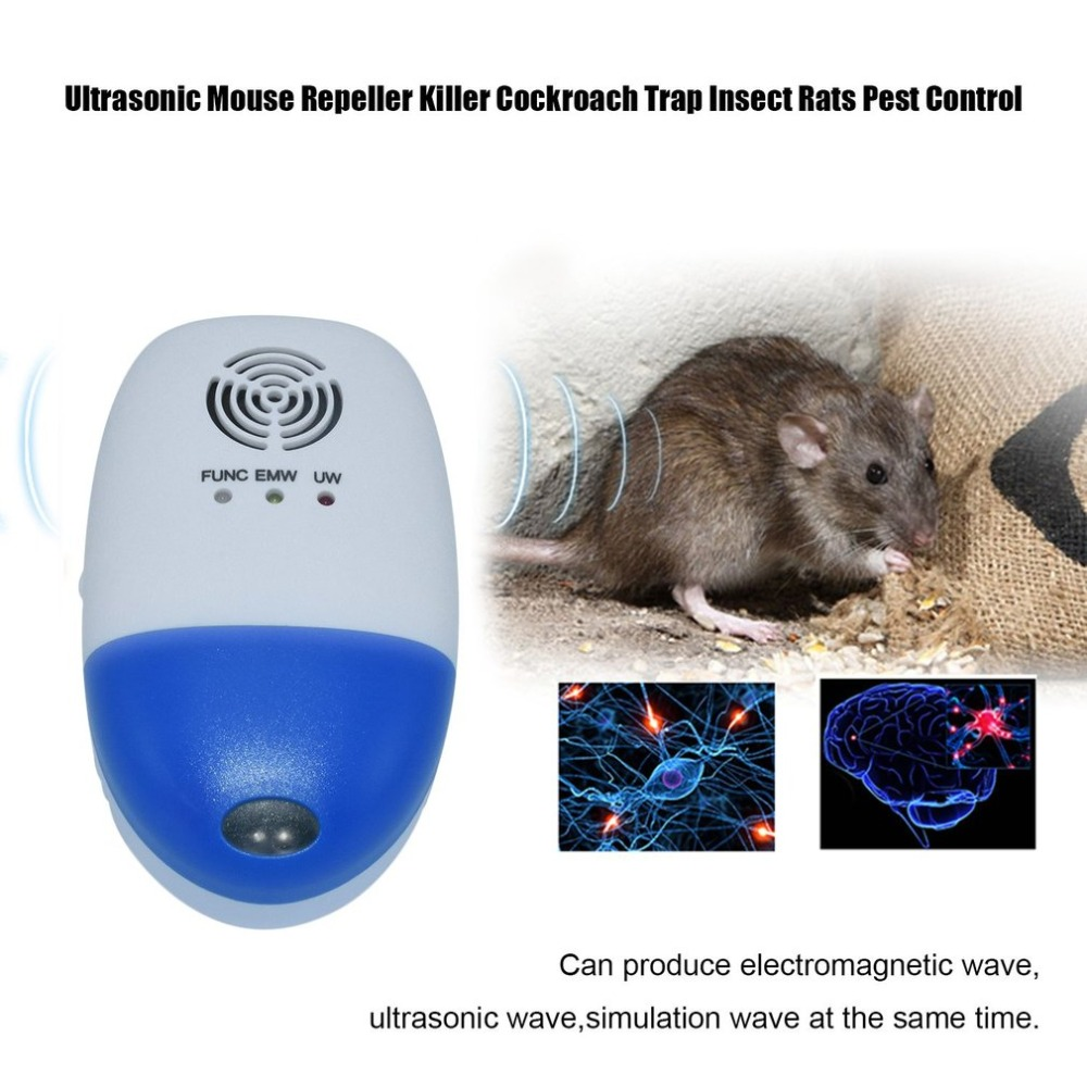 Electronic Ultrasonic Mouse Repeller Cockroach Trap Insect Mosquito Killer Rats Spiders Pest Control Device ao 149 portable plastic ultrasonic wave mosquito repeller black