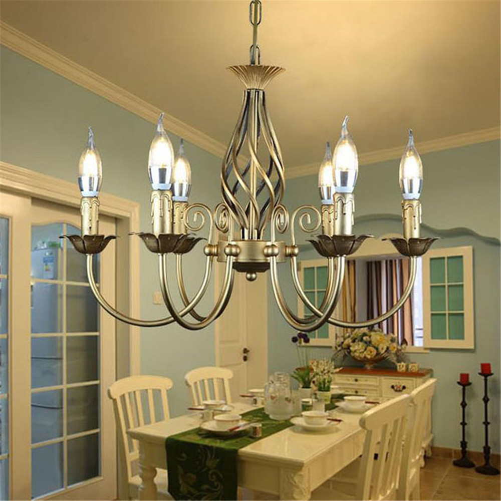 Image 5 - Vintage Wrought Iron Chandelier E14 Candle hanging Light Lamp Bronze Metal LED home Lights Fixture modern iron lustre promotiom-in Chandeliers from Lights & Lighting