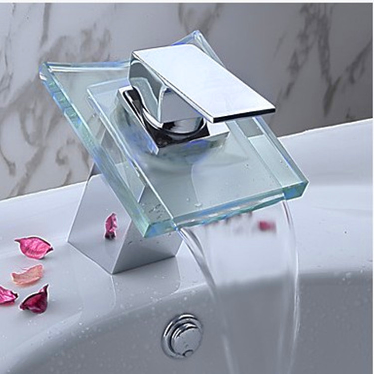 Bathroom Glass Waterfall Tap With Single Handle Hot Cold Bathroom Waterfall Basin Sink Faucet , Sanitary Ware , Basin Faucet Attractive Appearance