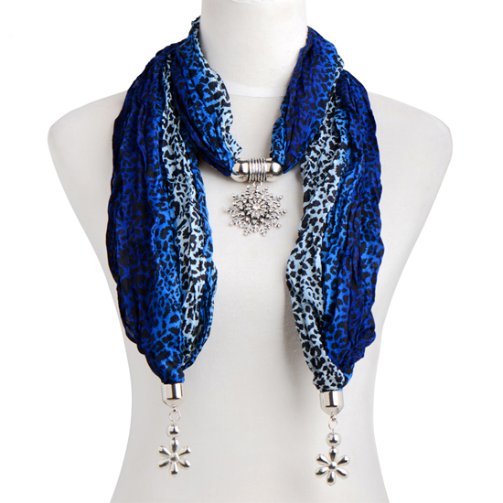 Fashion Women Jewelry Scarfs necklace Leopard Chief necklace with Snow Charm Pendant End Finish Pendant scarf For lady 2140