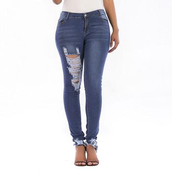 Damskie jeansy Feitong letnie otwory w jednolitym kolorze Sraight Spodnie Damskie jeansy Damskie Plus Size jeansy Damskie spodenki Damskie tanie i dobre opinie Pełnej długości Ołówek spodnie Niskie HOLE Porysowany Women Jeans Poliester light skinny Na co dzień Zmiękczania