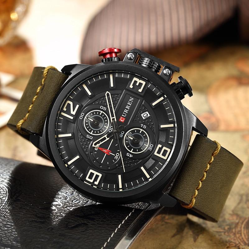 Image 5 - CURREN Sports Analog Army Military Men Watches Calendar Casual Quartz Clock Wristwatch Relogio Masculino Horloges Mannens SaatQuartz Watches   -