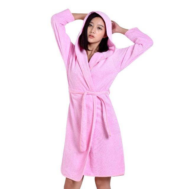 High Quality 100% Cotton Robe Terry Women Solid Sleepwear Warm ...
