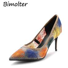 Bimolter Flowers Thin heels Fashion Sheepskin inside Pumps For Women Elegant Party Casual Synthetic Sexy High Heels NA027