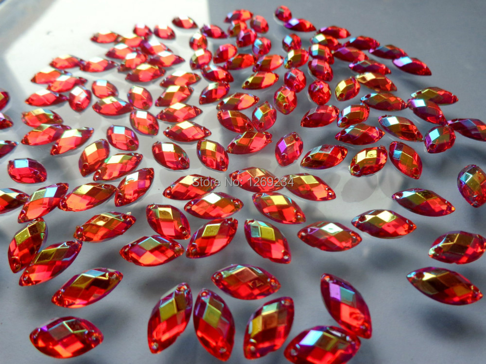 Red AB colour 250pcs 6 12mm sew on Acryl crystal rhinestone Navette shape  flatback loose beads accessory gemstone hand sewing-in Rhinestones from  Home ... a01d3ba156f7