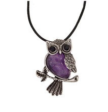 FYJS Unique Jewelry Owl Shape Natural Purple Amethysts Stone Pendant Necklace with Rope Chain цена 2017