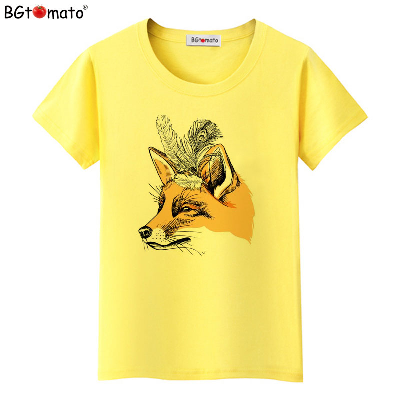 BGtomato art fox women t-shirts Beautiful design short sleeve casual shirts Good quality brand tops cool tees cheap sale