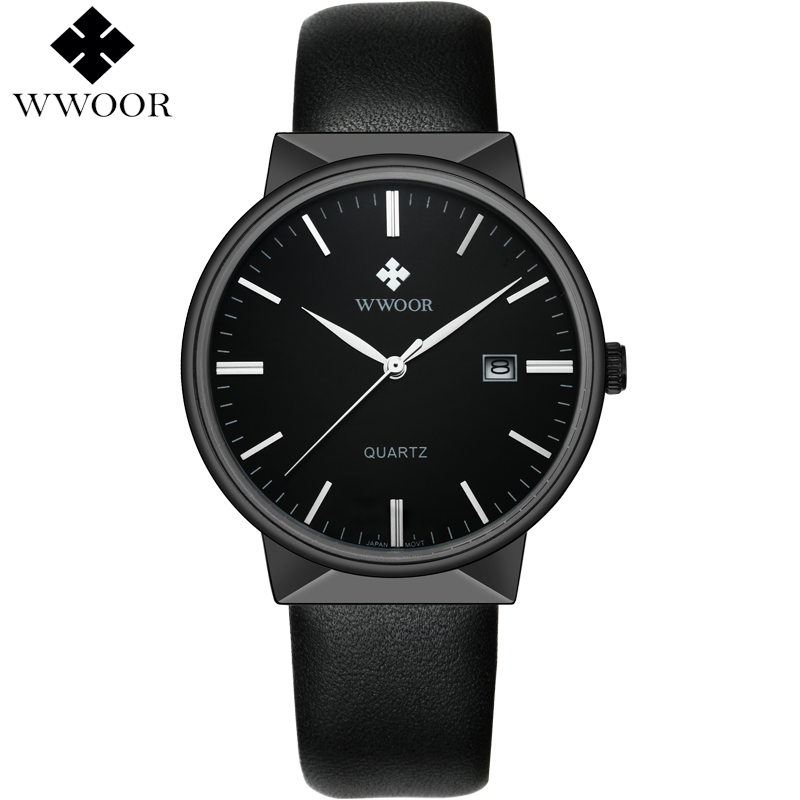 Top Brand Luxury Men Waterproof Sports Watches Men's Quartz Analog Clock Male Black Leather Strap Wrist Watch WWOOR reloj hombre fashion top gift item wood watches men s analog simple hand made wrist watch male sports quartz watch reloj de madera