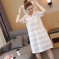 New Summer 2017 Loose Short Sleeve Hooded Stripe T Shirt Dress College Style Girls Casual Woman