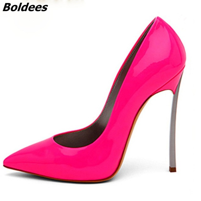 Boldees Sexy Women Stilettos Pointed Toe Shoes Fancy Metal Rivets Studs Shiny Leather Pumps Girls Spikes Slip on High Heels