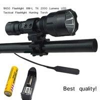 C8 xm l t6 LED tactical flashlight 2000 lumens lanterna+1*18650 battery+ Charger+Pressure switch