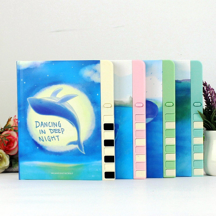 Dolphin Kid Notebook Cartoon Password Diary Lockable Korea Stationery Notebook Kawaii Notepad School Supplies Lovely Xmas Gift ann notebook korea school supplies stationery cute happy graffiti leather surface solid color printing loose leaf diary notepad