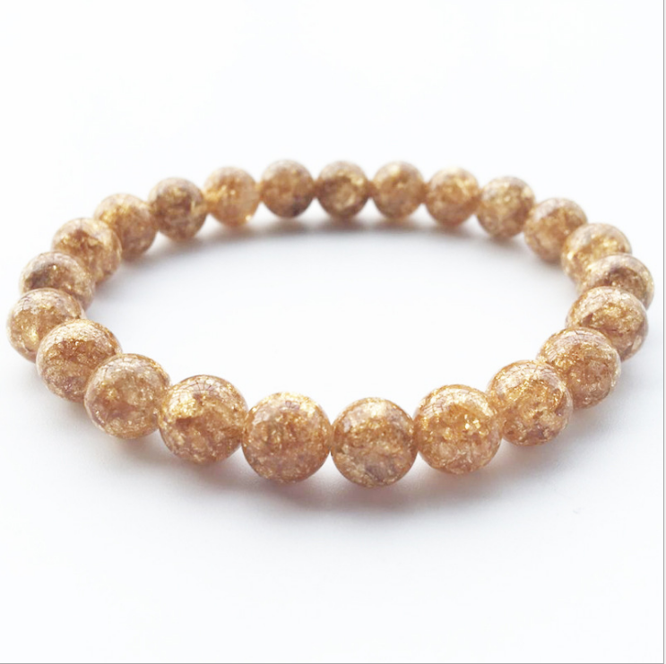 Fashion New Best Selling Jewelry 8mm Gold Foil Beads Ladies Elastic Accessories Hand-woven Fine Jewelry