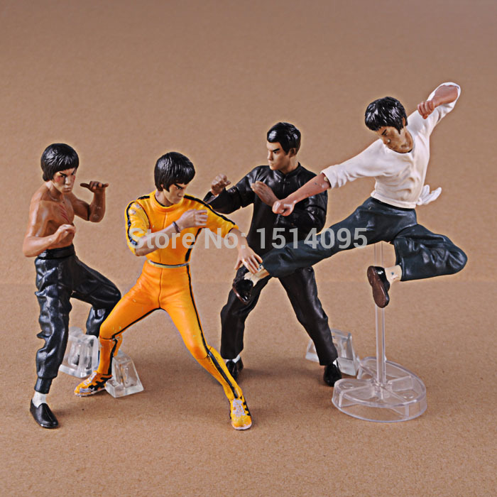 4pcs/set Cool Bruce Lee Kung Fu PVC Collection Model Action Figures Toys New in Box OF111 vingate bruce lee 3 sets classic tang suit kung fu martial arts wing chun outfit uniform fist of fury costume cotton comfort
