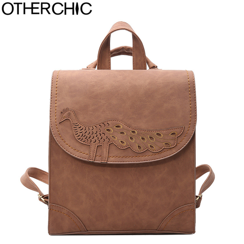 OTHERCHIC NEW Designer Leather Backpack Fashion Women Backpacks For Teenager School Bags Black Vintage Female Backpack L-7N07-88 zooler women s backpack eyes sequined designer black cartoon eyes backpacks travel bag cute shell backpacks for teenager girls