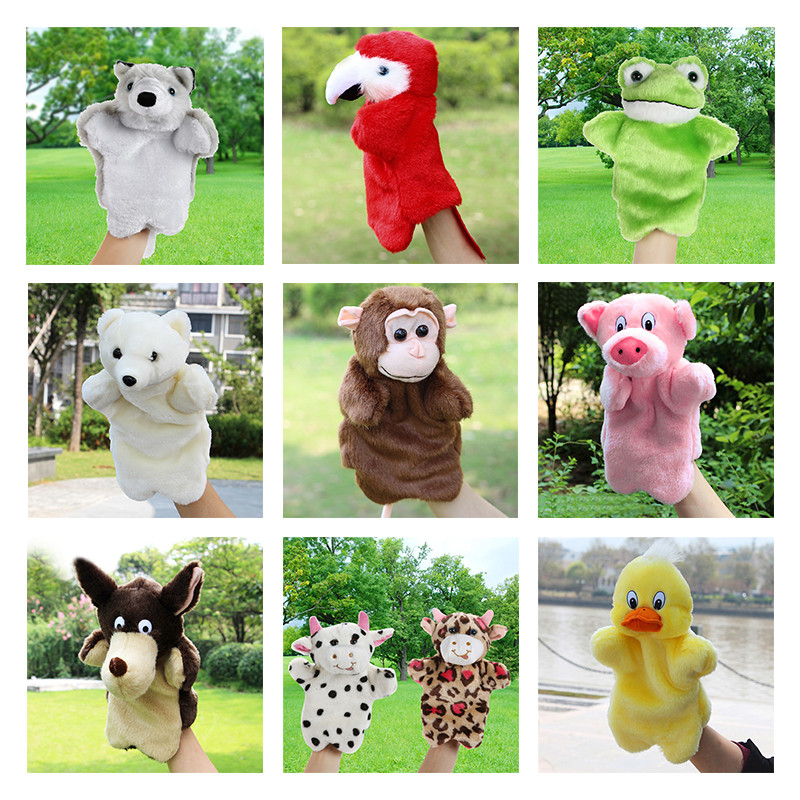 Animal Hand Puppet Baby Plush font b Toys b font Parrot Eagle Duck Wolf Doll Baby