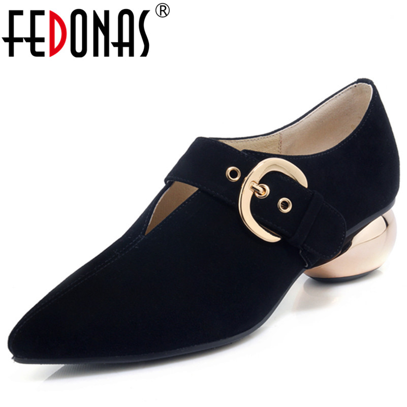 FEDONAS 1Fashion Women Basic Pumps Suede Leather Spring Autumn Strange Heels Shoes Woman Pointed Toe Buckle Party Dancing Shoes mary janes shoes woman genuine leather strange style women heels pumps pointed toe shoes string bead spring autumn women shoes