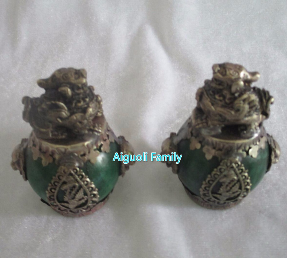Art collection 1 Pair (2 item) Tibet Silver Green Jade brave troops Statue/Chinese Home Decoration FengShui Pi XiuSculpture