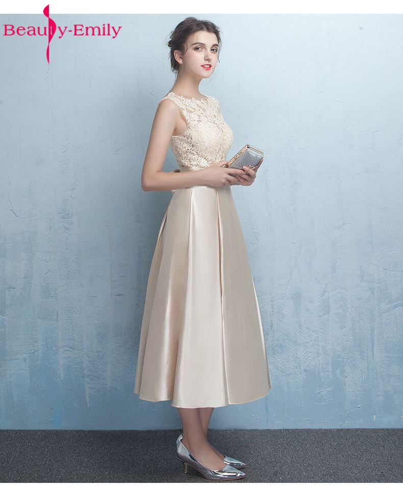 Beauty-Emily Stain Lace Champagna   Bridesmaid     Dresses   2017 Vestidos de noite A-Line Ankle-Length Wedding Party Prom   Dresses
