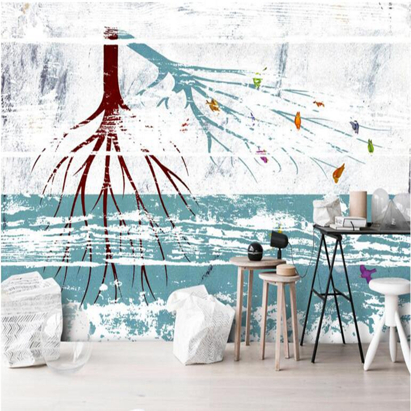 Black and White Wall Decor Tree Wallpaper for Walls abstract 3d Wallpaper for Bedroom Dining Room Wall Art Restaurant Wall Paper fashion letters and zebra pattern removeable wall stickers for bedroom decor