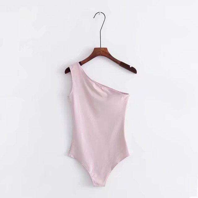 Jellpe 2018 New Basic One Shoulder Bodysuit Rib Knit Elegant Women Sexy Spring Bodysuits Fashion Skinny Bodysuit