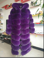 Russian Style Winter womens Purple Real fox fur jackets with Hood , Warm plush 100cm Transformer Fur coats