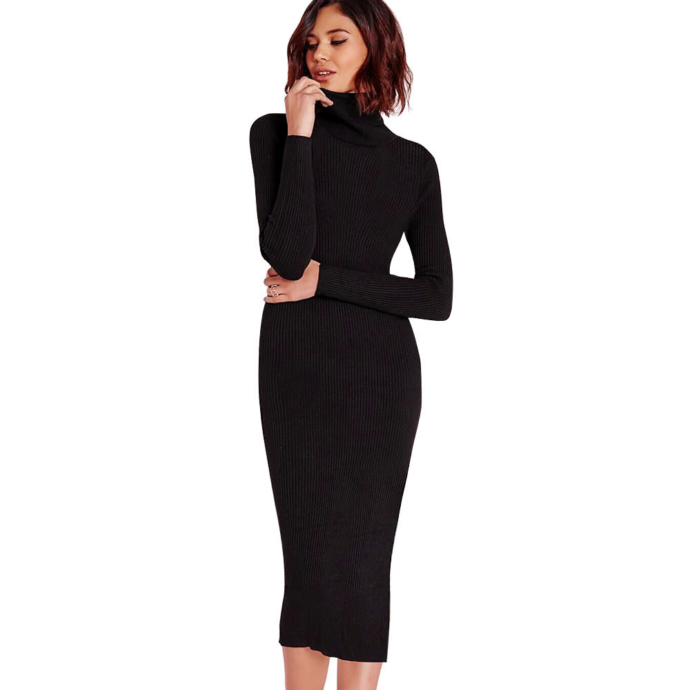 8c40140f2a ... Kenancy 5 Colors Solid Turtleneck Mid-Calf Warm Knitted Sweater Dress  Women Elegant Slim Long ...