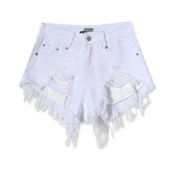Verano pantalones cortos de cintura alta ripped blanco mini jeans denim shorts mujeres feminino corto de diseño atractivo caliente más el tamaño de las partes inferiores
