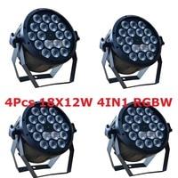 4 xLot LED Light Par 18x12 W 4em1 RGBW UE/EUA Plug 8CH LED Par64 DMX Stage Lighting Effect DJ Disco Luzes de Lavagem para o Partido Home Mostrar