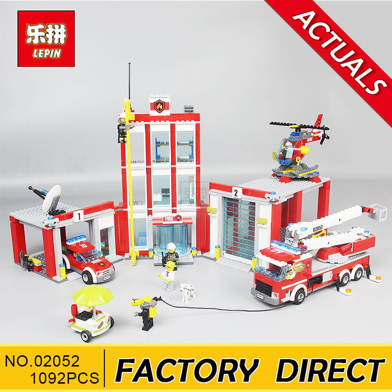 Lepin 02052 City Fire Station Command Center Truck Car Helicopter Building Block Toys For Children Christmas Gift 60110 Legoings loz mini diamond block world famous architecture financial center swfc shangha china city nanoblock model brick educational toys