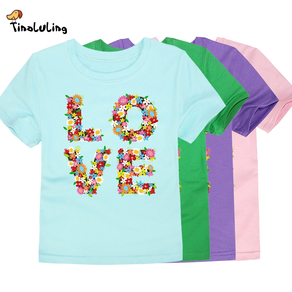 TINOLULING T-Shirt Kids Tops Girls Baby Boys Love Flower for 2-14-Years Children 12-Colors