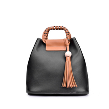 2019 New Soft PU European and American Style Tassel Two-piece Mother Bag Fashion Single Shoulder Bucket Diagonal Female Bag Bags цены