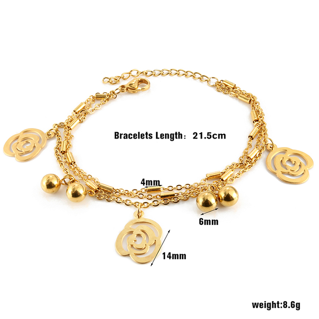 Trendy Flower Gold Color Man Charming Link Bracelets Bangles Stainless Steel Wedding Party Female Bracelet Luxury Jewellry Gift