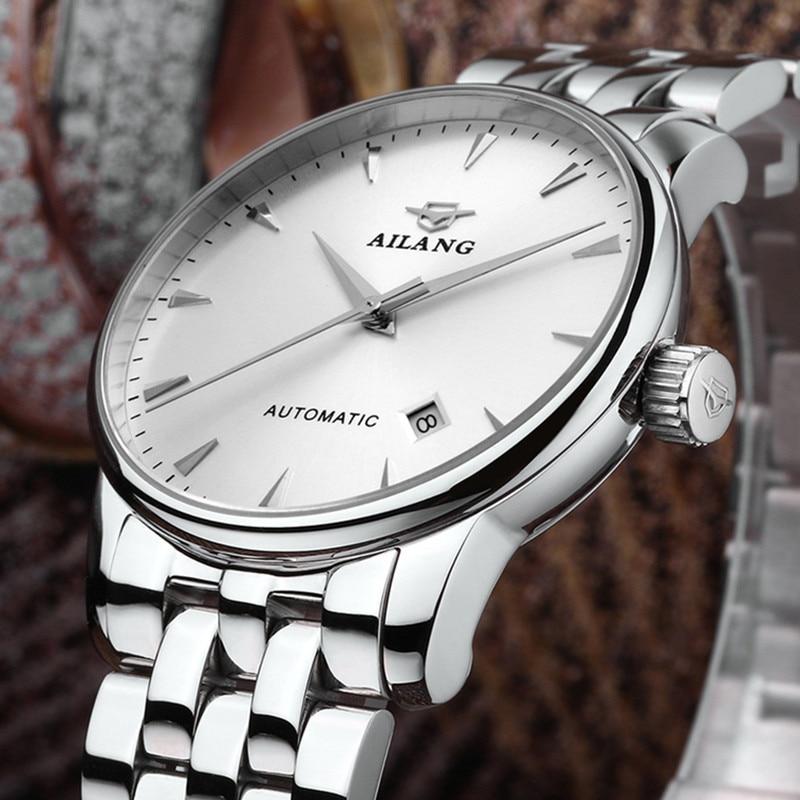 AILANG Luxury Mechanical Watch Wrist Automatic Retro Watches Waterproof 30M Men Wristwatch Clock Stainless Steel Erkek Kol Saati in Mechanical Watches from Watches