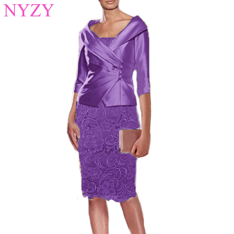 NYZY M1A Real Dress For Wedding Party Guest Wear With Jacket Bolero 2 Piece Pink Mother Of The Bride Groom Dresses 2019