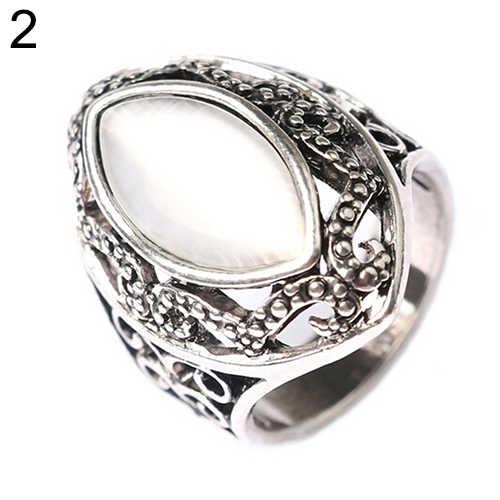 Kobiety luksusowe królewski styl Hollow Big żywica Opal wesele pierścień biżuteria moda kobieta pierścień biżuteria hurtowych Dropshipping