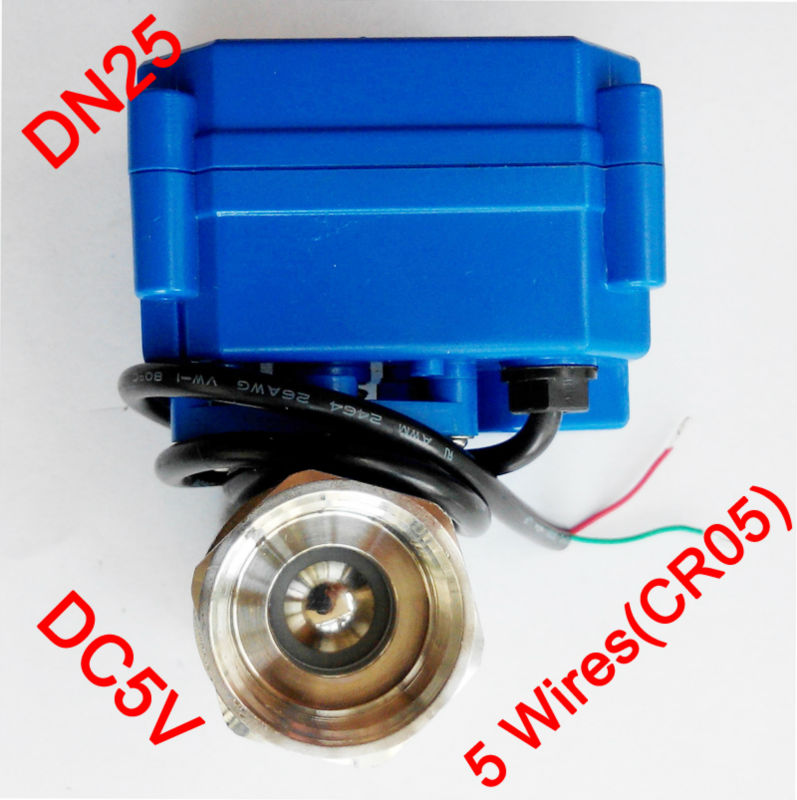 1 Miniature Electric valve 5 wires (CR05), DC5V Electric motorized ball valve SS304, DN25 electric valve signal feedback