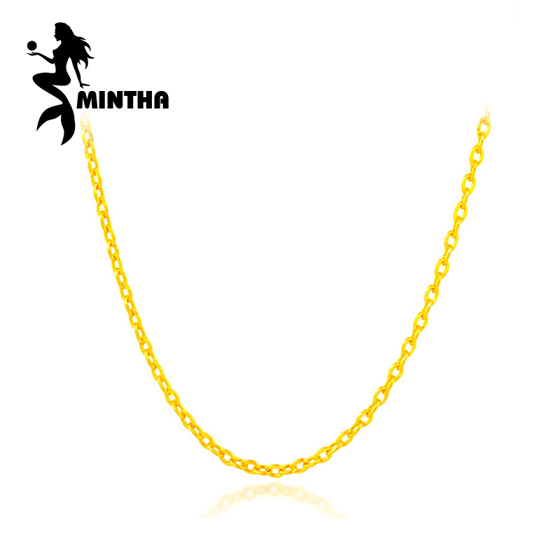 MINTHA Genuine classic 18K White Yellow Rose Gold Chain Cost Price Sale Pure 18K Gold Necklace for love Best Gift For women все цены