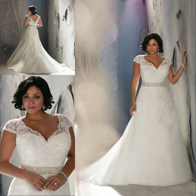 Vintage lace cap sleeves super plus size mermaid wedding for Plus size wedding dresses with color and sleeves