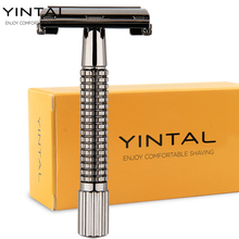 Classic Double Edge Safety Razor WEISHI Bass Chrome Grid Handle Shaver Butterfly Blade Holder 1 Razor+1 blade