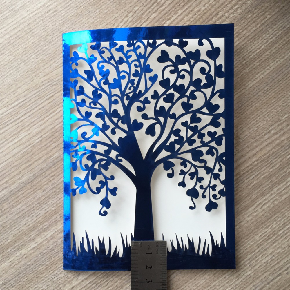 20pcs Romantic Laser Cut Wedding Invitation Card Tree Design Carved ...