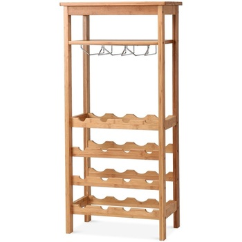 16 Bottles Bamboo Storage Wine Rack with Glass Hanger Horizontally Placed Design Shelf with natural Bamboo Texture HW59431