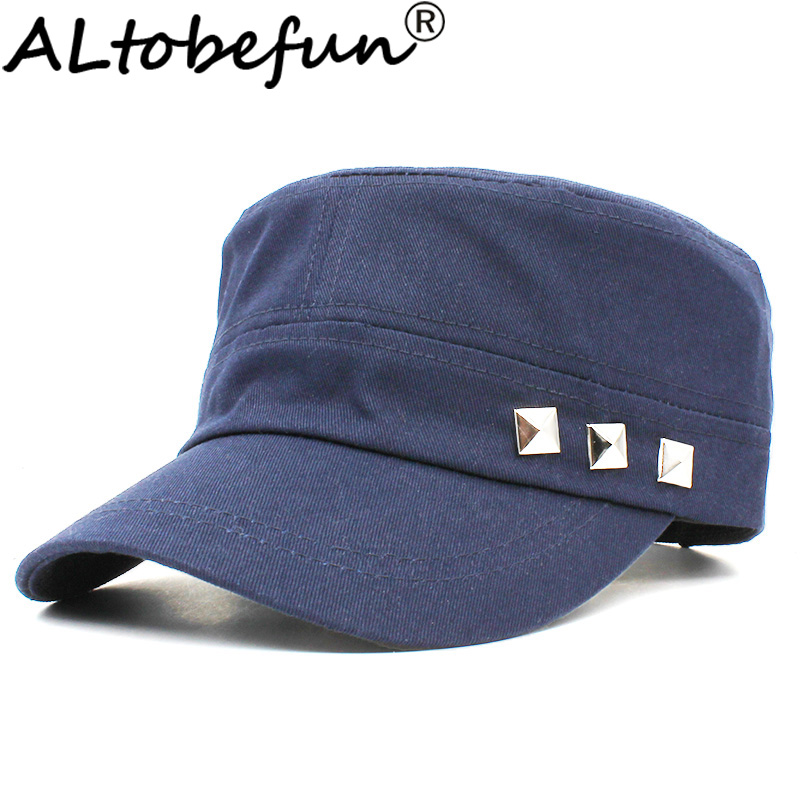 ALTOBEFUN Classic Vintage Rivet Women Military Hat Adult Fashion Summer Autumn Brand Adjustable Flat Top Cap For Men AD925 image