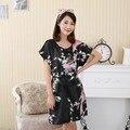 Сексуальное черное элегантные цветы и павлин женский ночной рубашке леди район одеяние платье платье летом новый пижамы пижамы один размер S0124