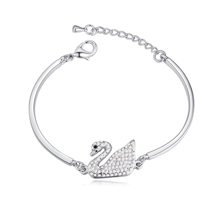 Clic Swan Bracelet Made With Swarovski Elements Crystal From Pulseras For Lover Bijuteria Factory Direct In Charm Bracelets Jewelry