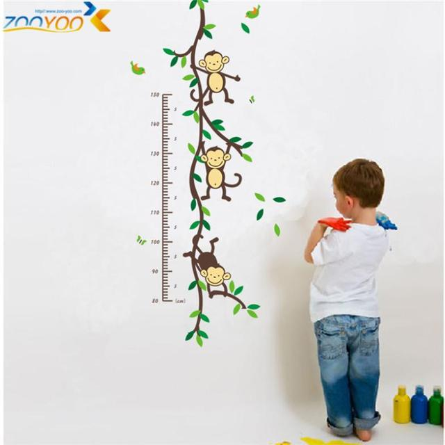 Hot Selling 2016 Monkey Wall Decals Zooyoo1208 Animal Tree Wall Art Growth  Chart Wall Sticker For
