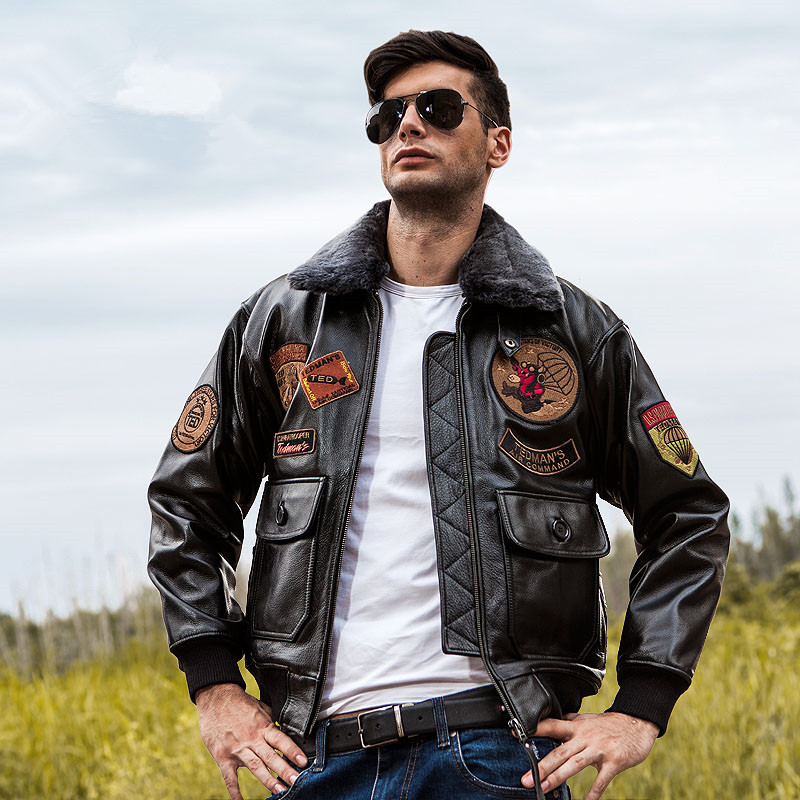 2019 USAF Genuine G1 Leather Pilot Jacket Wool Collar Thick Cowhide Winter Russian Aviator Leather Coat Customized Plus Size XXL