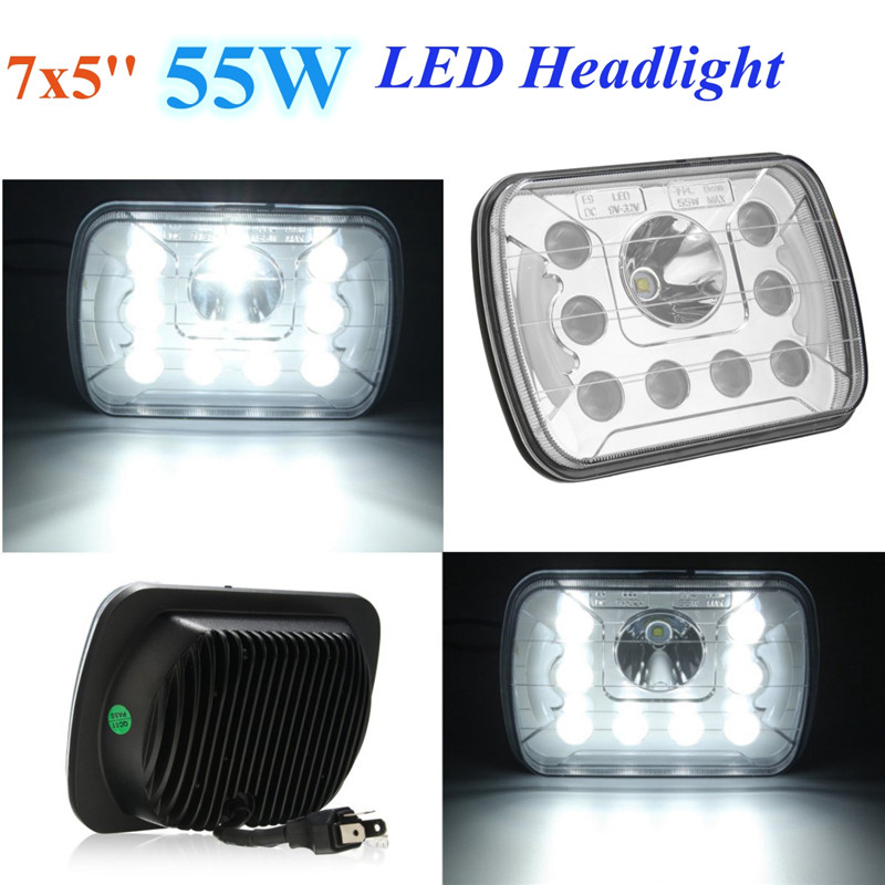7x5 Inch 55W LED Headlight Hi/Lo Sealed Beam w/DRL Headlamp For Jeep/Wrangler
